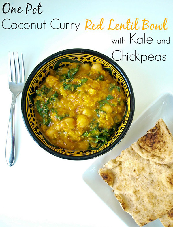 One Pot Coconut Curry Red Lentil Bowl with Kale and Chickpeas