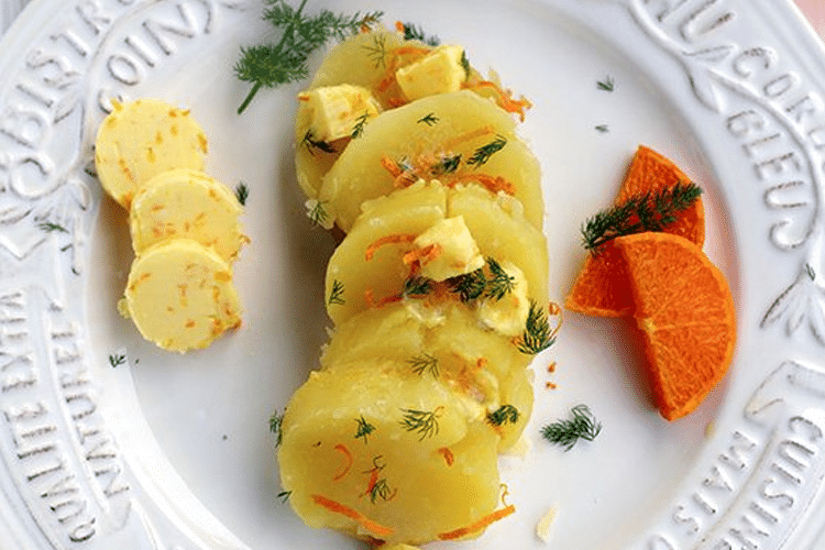 Foil-Wrapped Baked Potatoes with Clementine Butter Compound