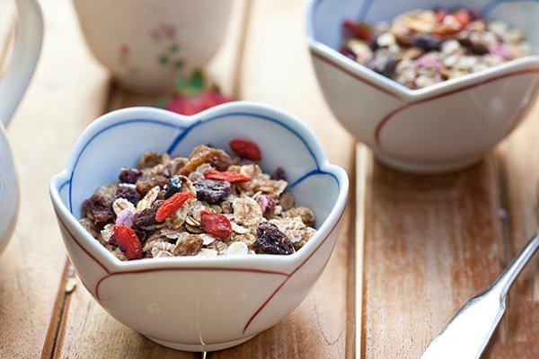 Muesli with dried fruits.