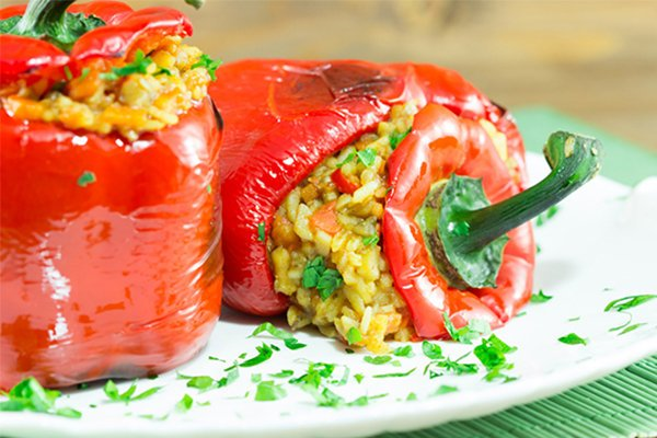 Greek Rice Stuffed Peppers