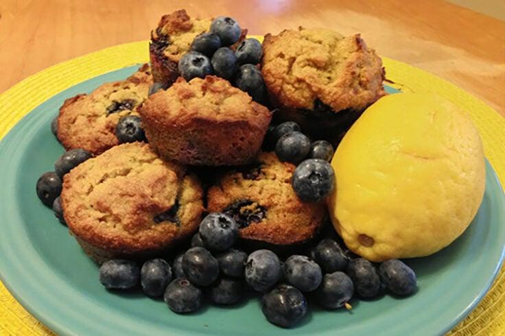 Grain-Free Lemon Blueberry Lavender Muffins