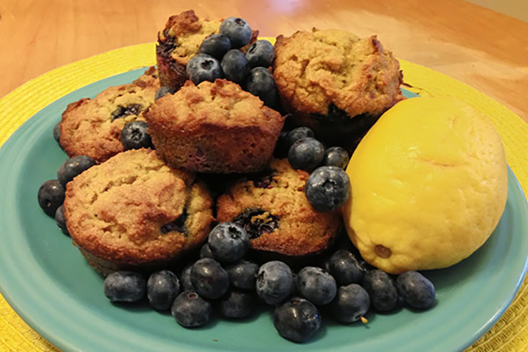 Grain- Free Lemon Blueberry Lavender Muffins