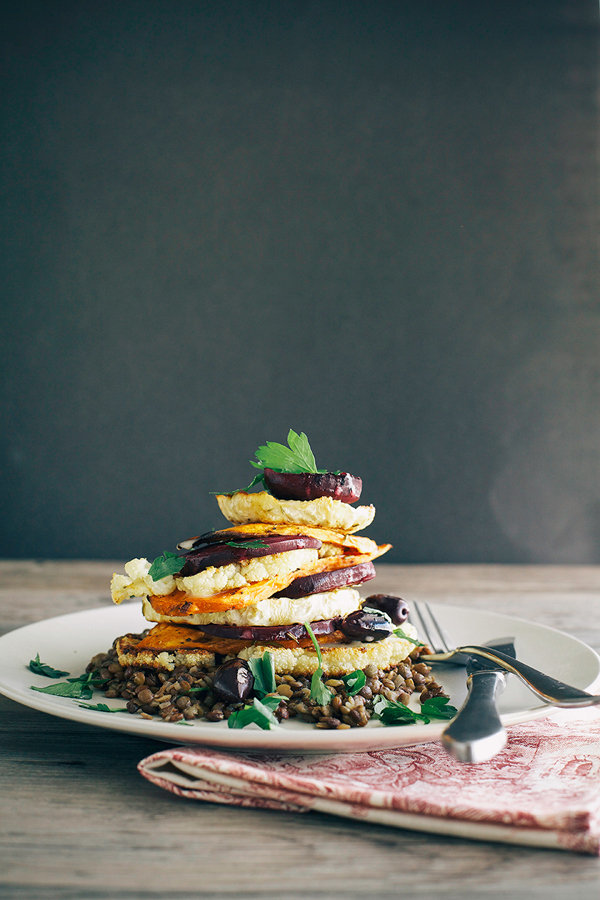 Lemon Rosemary Vegetable Stack with Lentils + Creamy Horseradish Vinaigrette