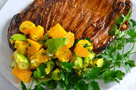 Paleo Steak with Orange Avocado Topping