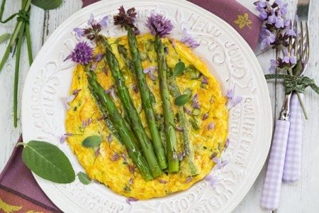 Asparagus Frittata with Herb Blossoms