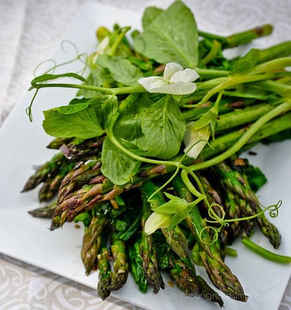 Asparagus, Green Garlic, and Pea Tendrils