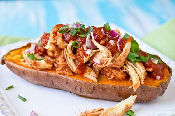 BBQ Chicken Stuffed Baked Sweet Potato