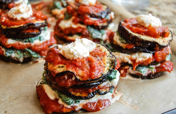 Baked Eggplant Stacks with Cashew Ricotta