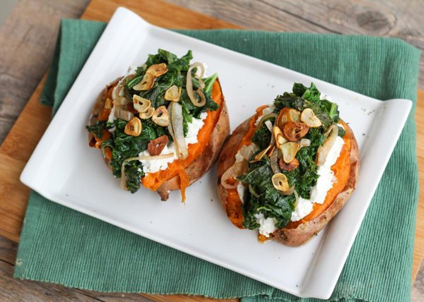 Baked Sweet Potatoes with Ricotta and Kale