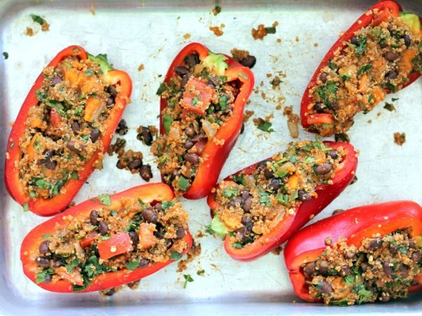 Black Bean, Sweet Potato, and Quinoa Stuffed Bell Peppers