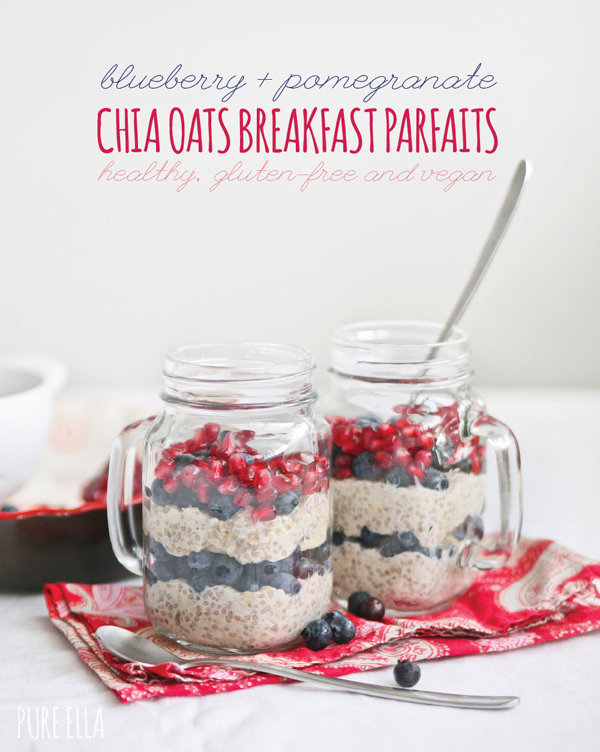 Blueberry & Pomegranate Chia Oats Breakfast Parfait