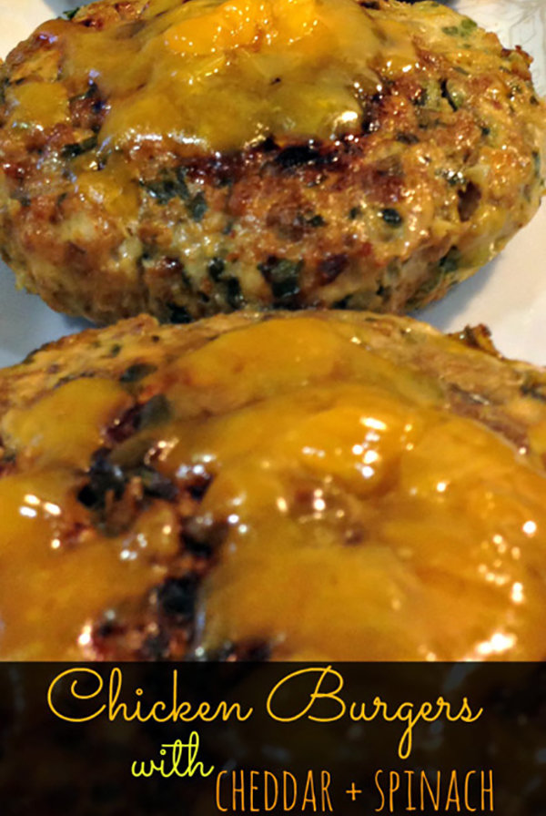 Cheddar and Spinach Chicken Burgers