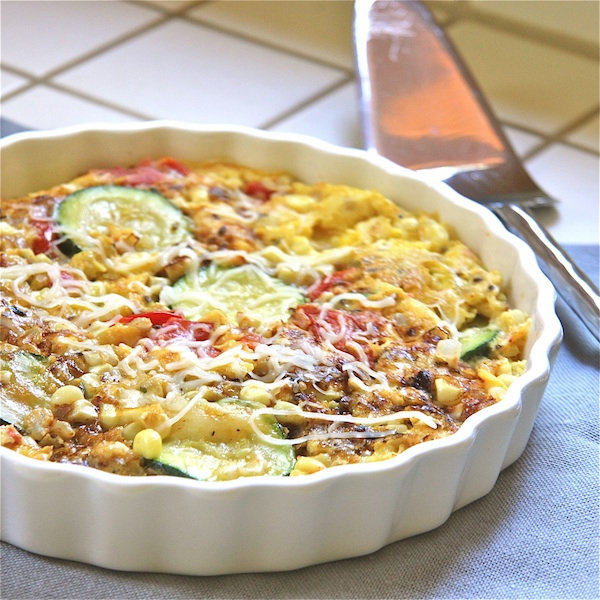 Corn, Zucchini, and Roasted Tomato Frittata