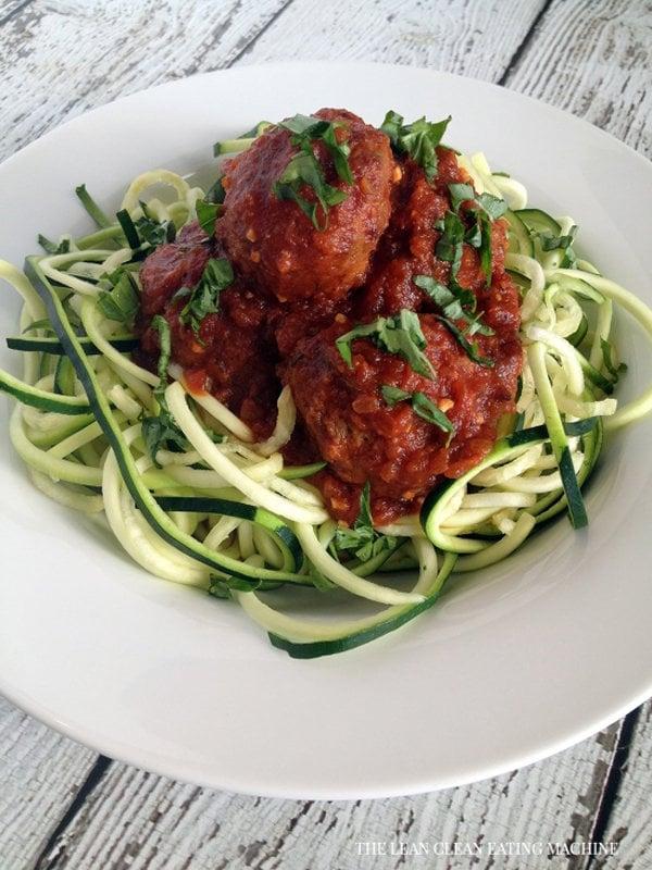 Easy zucchini spaghetti and turkey meatballs for Zucchini noodles and meatballs recipe