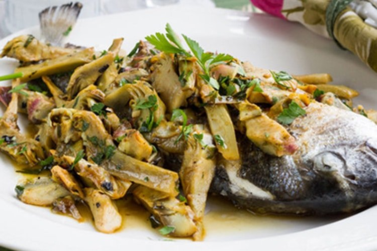 Fish and Artichokes with White Wine