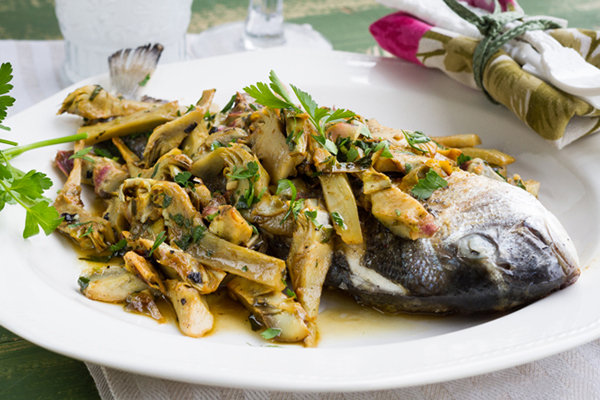 Fish and artichokes with white wine for White wine with fish
