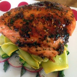 Glazed Salmon with Seasonal Vegetables