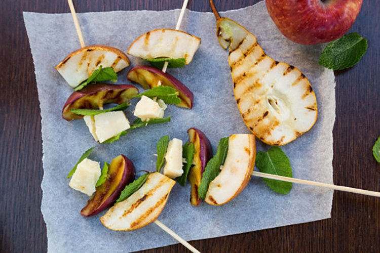 Grilled Apples, Pears Parmigiano Reggiano Skewers