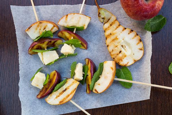 Grilled Apples, Pears & Parmigiano Reggiano Skewers