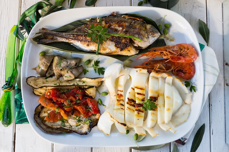 Mediterranean Grilled Seafood and Vegetable Platter