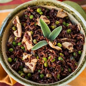 Healthy Sautéed Rice with Peas and Chicken