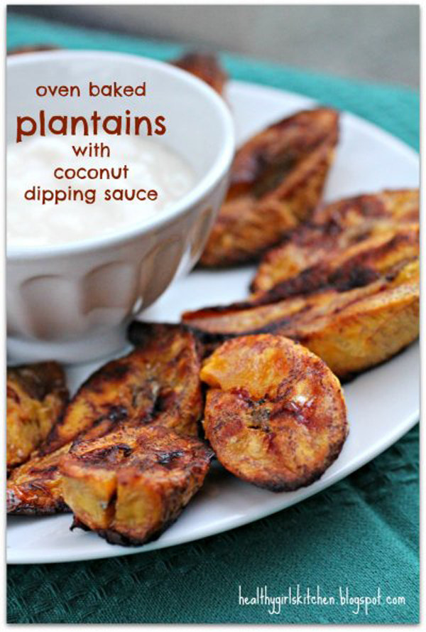 Oven Baked Plantains with Coconut Dipping Sauce