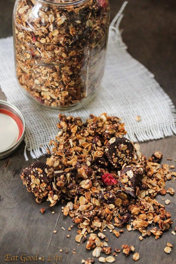 Quinoa Chocolate Peanut Butter Granola
