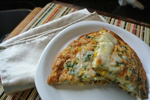 Roasted Summer Corn and Smoked Mozzarella Frittata