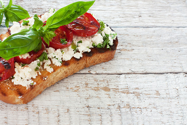 Roasted Tomatoes, Ricotta Cheese, and Basil