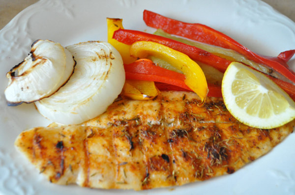 Spicy Grilled Tilapia with Peppers and Onions