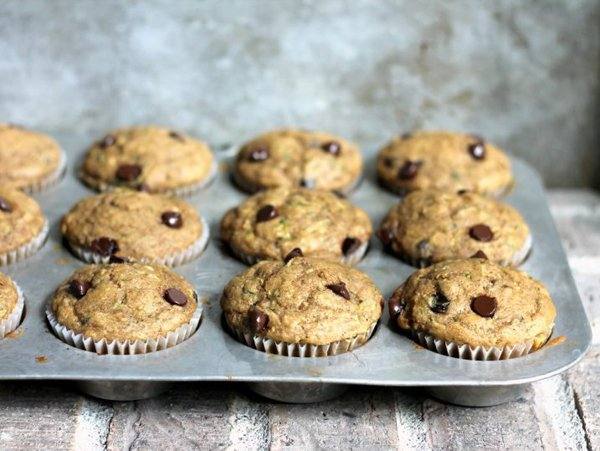 Zucchini Banana Chocolate Chip Muffins
