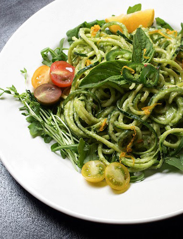 Zucchini Pasta and Creamy Avocado-Cucumber Sauce