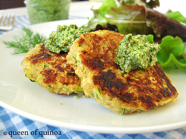 Zucchini Salmon Cakes with Lemon Dill Pesto