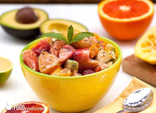 Avocado Fruit Salad with Chia Yogurt Dressing