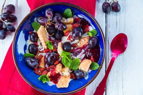 Breakfast Yogurt Bowl with Plum sauce, Goji & Grapes