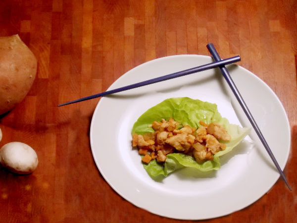 Chicken and Mushroom Lettuce Wrap