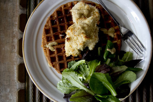 Chicken and Waffles with Greens