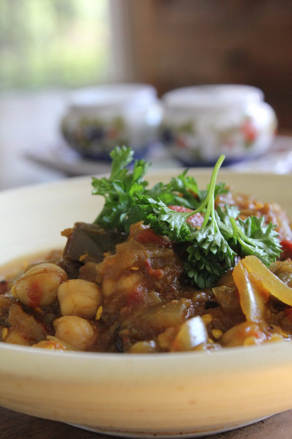 Crockpot Eggplant Chickpea Curry