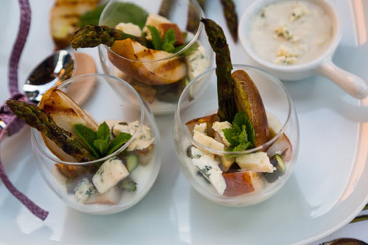 Glass Appetizer of Grilled Asparagus & Pears with Blue Cheese Sauce