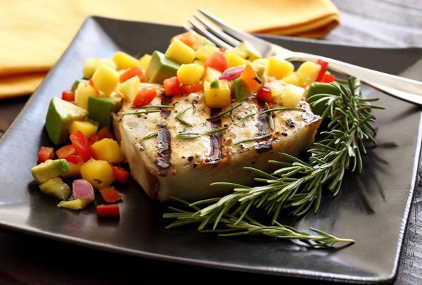 Grilled Halibut Steak with Mango Pineapple Avocado Salsa