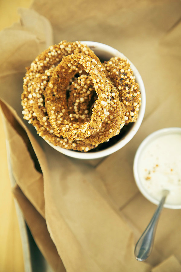 Quinoa Onion Rings with Horseradish Dip