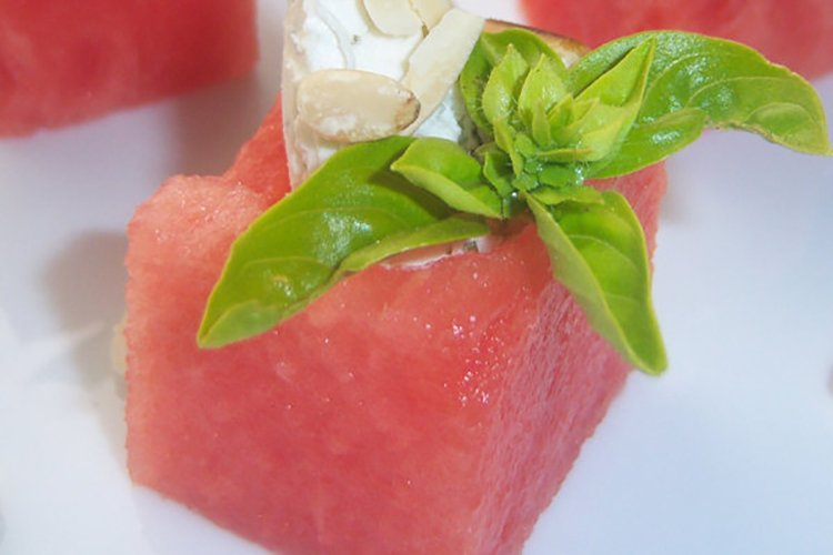 Refreshing Goat Cheese-Stuffed Watermelon Squares