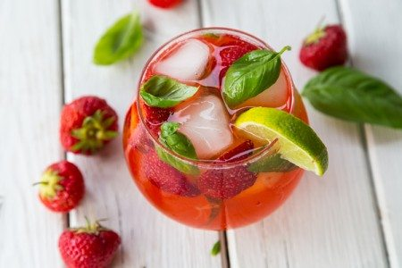 Strawberry, Lime, and Basil Smash Drink