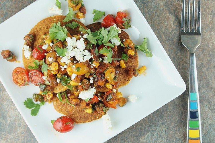 Sweet Corn Cakes with Roasted Vegetable Salsa