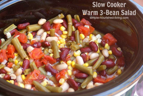 Warm Slow Cooker Bean Salad
