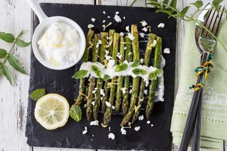 Asparagus with Feta Yogurt Mint Dressing