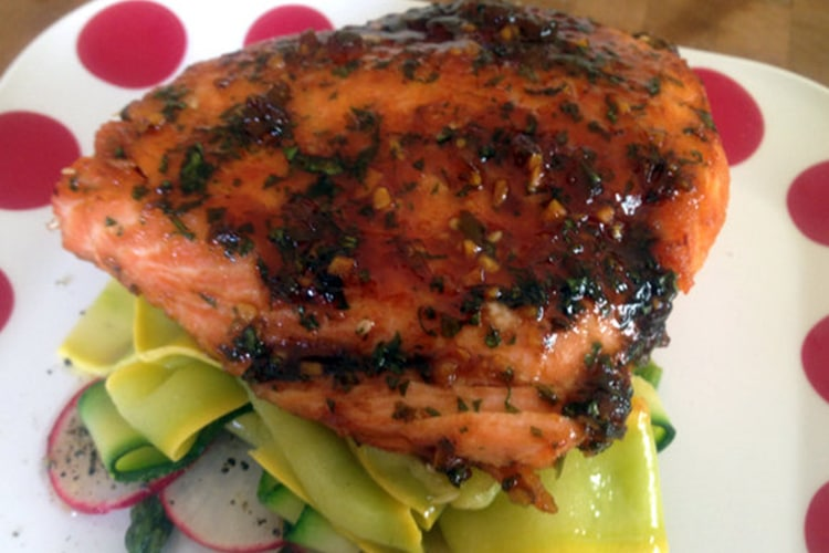 Glazed Salmon with Season Vegetables