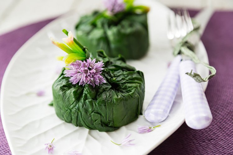 Healthy Mashed Potatoes Wrapped in Spinach