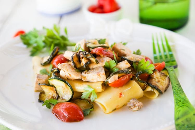 Pasta with White Fish, Tomatoes, and Zucchini