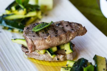 Tuna Pepper Steak with Cucumber Sesame Salad